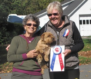 Carol Falk with Best Adult and BiS Ben Kelev's Penny Ante with judge Judith Felton.