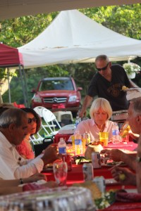 Deb Pritchard at the head of the table at our amazing Saturday night dinner under the tent.