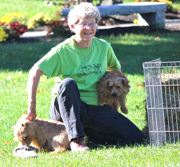 ANTA president Peggy Metcalf was the official 'dog catcher' in the flat races. (Sheila Foran Photo)