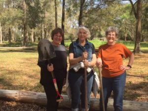The ladies are ready to dig. (L to R) Beth Jernigan, Bridget Smith, and Peggy Metcalf.